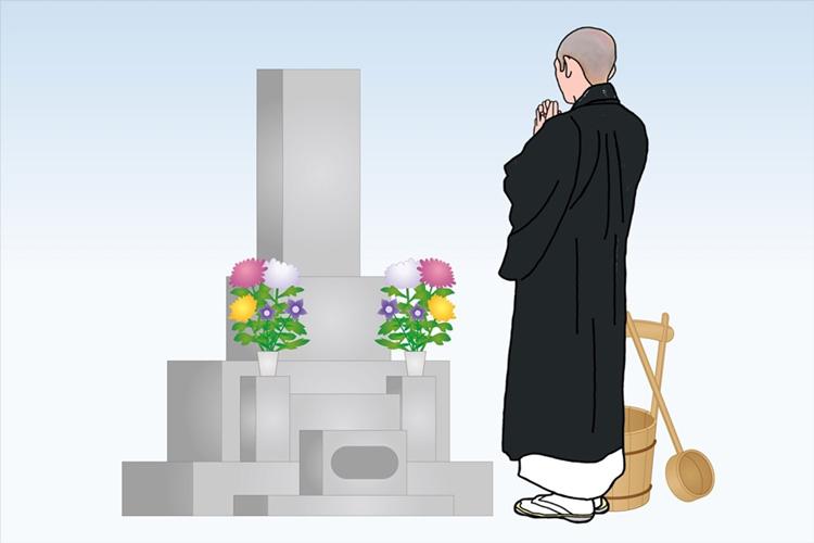宗教者による墓前でのお勤め